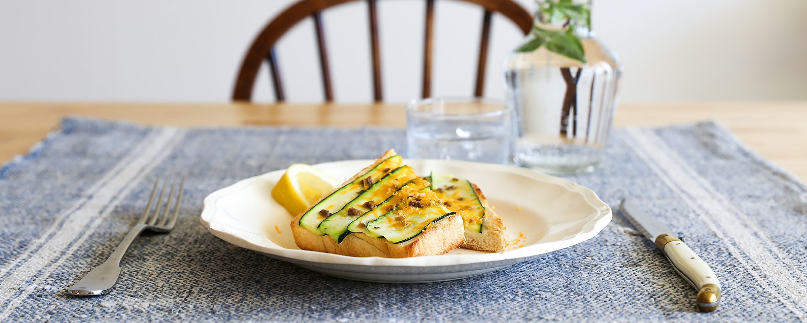 Zucchini with Anchovy <br>and Lemon on Toast