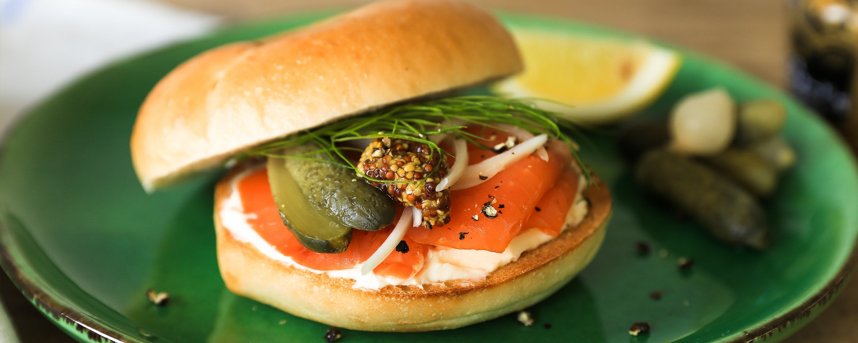 Smoked Salmon and <br>Sour Cream Bagel Sandwich