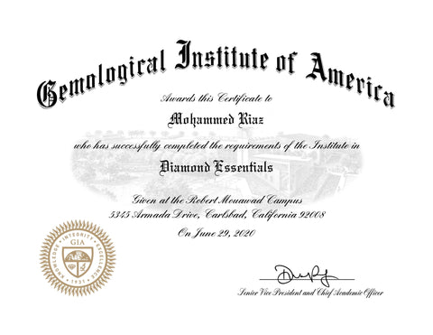 GIA Diamond Essentials Certificate
