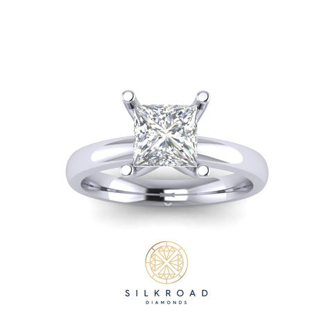 Solitaire Engagement Ring with Princess Cut Diamond