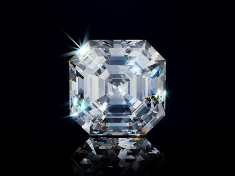 asscher cut diamond image on black background