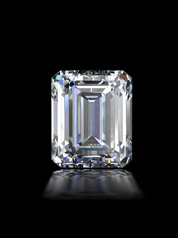 emerald cut diamond on black background