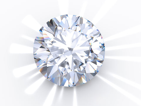 round brilliant diamond shining on white background