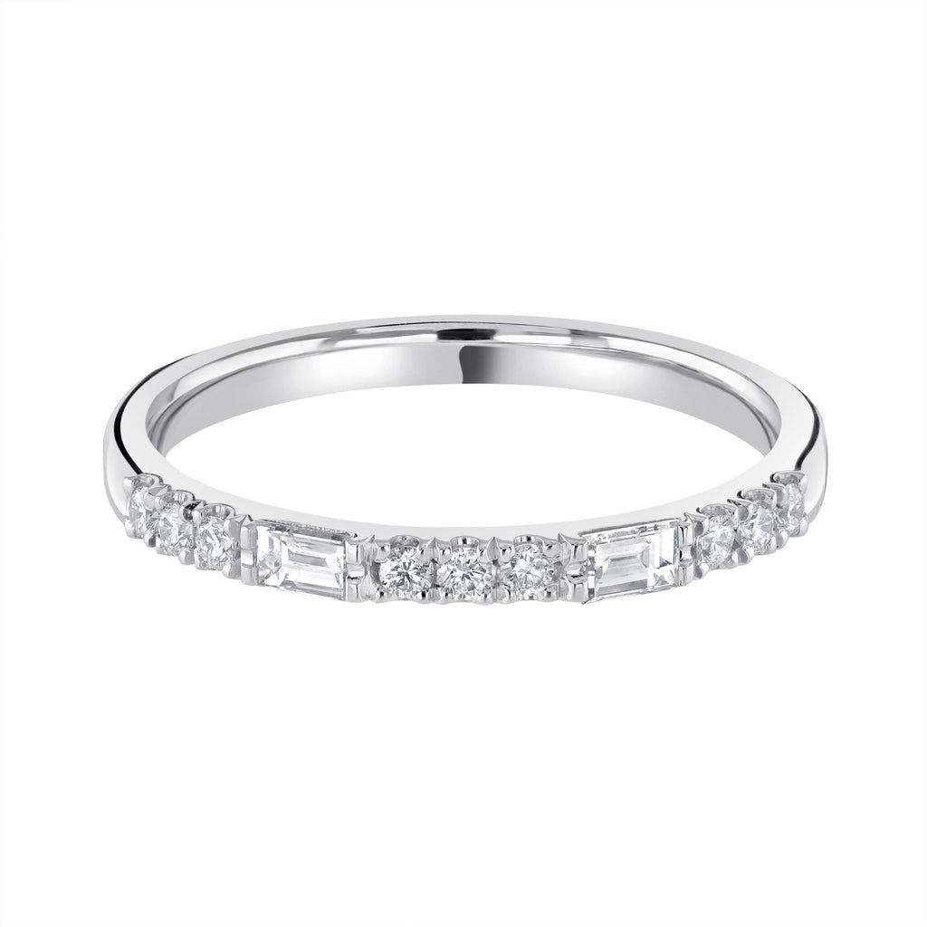 Castle Set Platinum Eternity Wedding Ring G/VS Diamonds