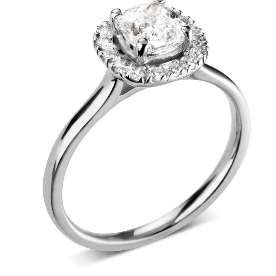 classic cushion halo with plain shoulders-Silk Road Diamonds