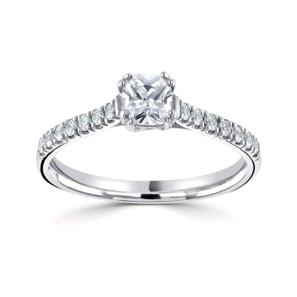 classic cushion solitaire with diamond set shoulders-Silk Road Diamonds