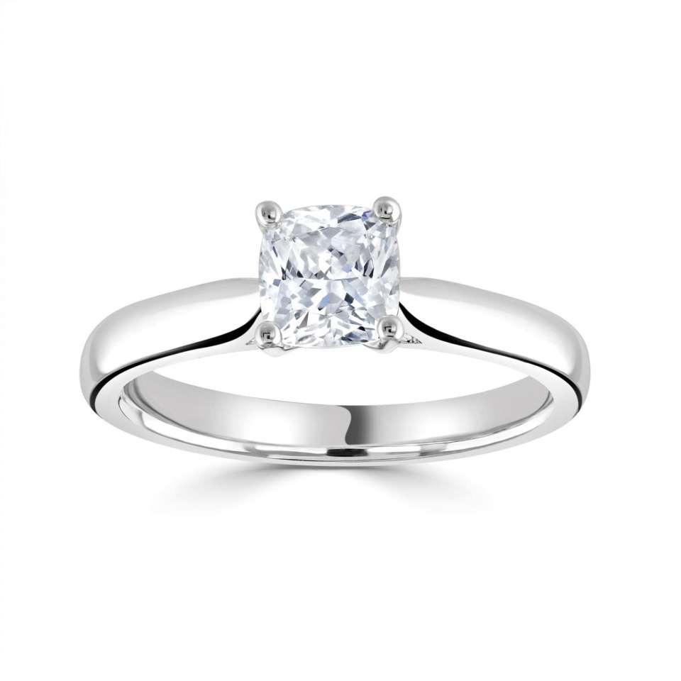 classic cushion solitaire with plain shoulders.-Silk Road Diamonds