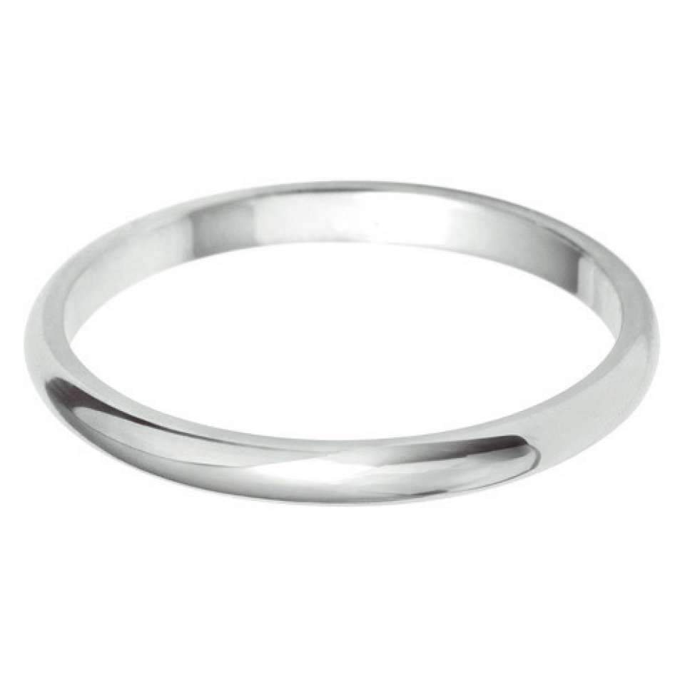 Classic D Shaped Plain Wedding Band 2.0mm-6.0mm- 18k White Gold-Silk Road Diamonds