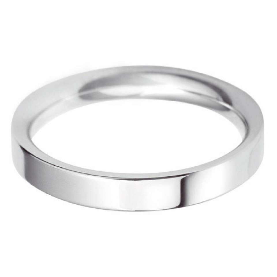 Classic Flat Court Platinum Wedding Band 18K White Gold 3mm-5mm-Silk Road Diamonds