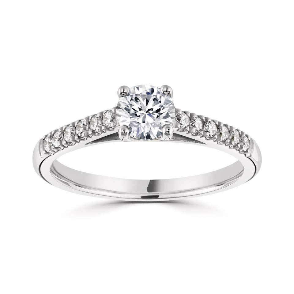 Classic Four Claw Platinum Round Solitaire with G/SI Diamond Set Shoulders.-Silk Road Diamonds