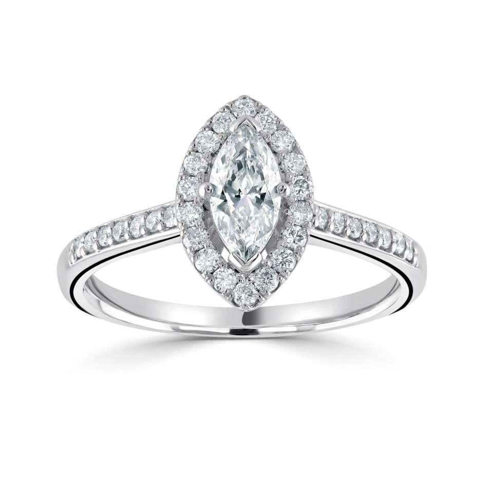 classic marquise halo with diamond set shoulders-Silk Road Diamonds