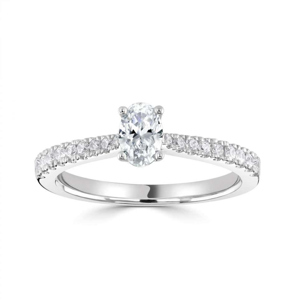 classic oval solitaire engagement ring with tapered H/SI diamond set shoulders.-Silk Road Diamonds