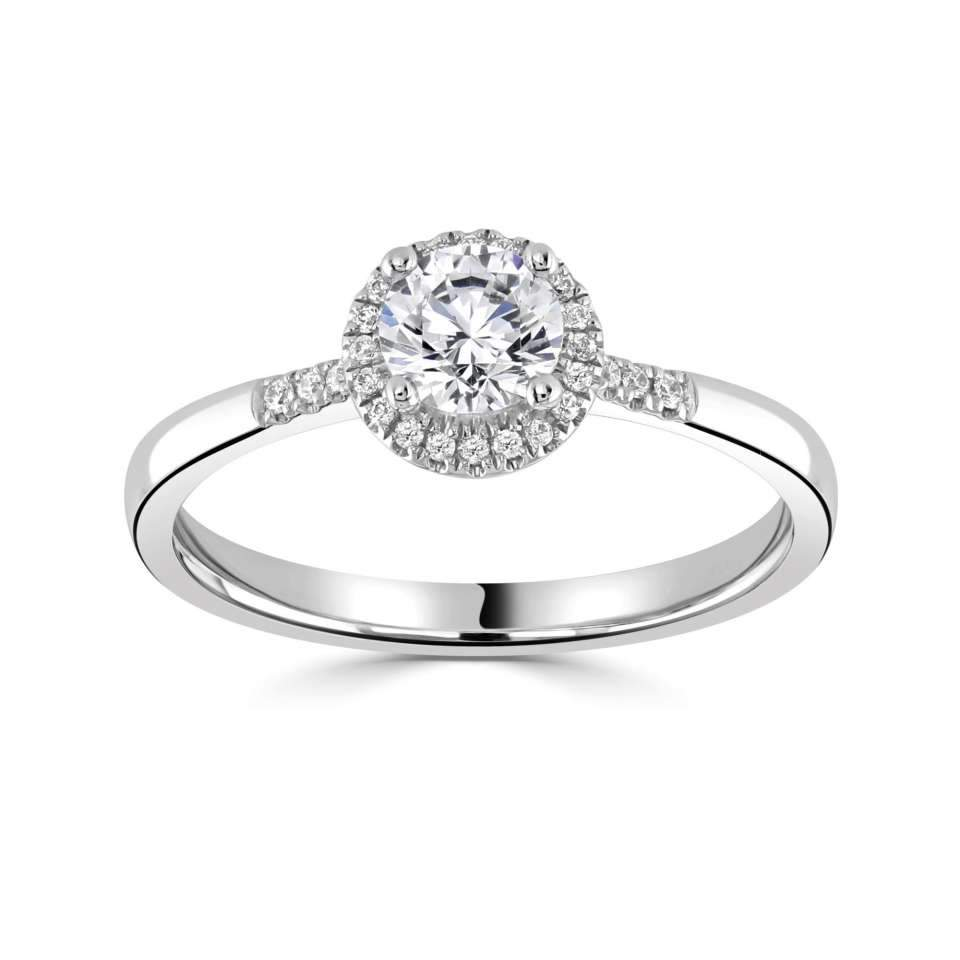 Classic Platinum Round Halo with G/SI Diamond Set Shoulders.-Silk Road Diamonds