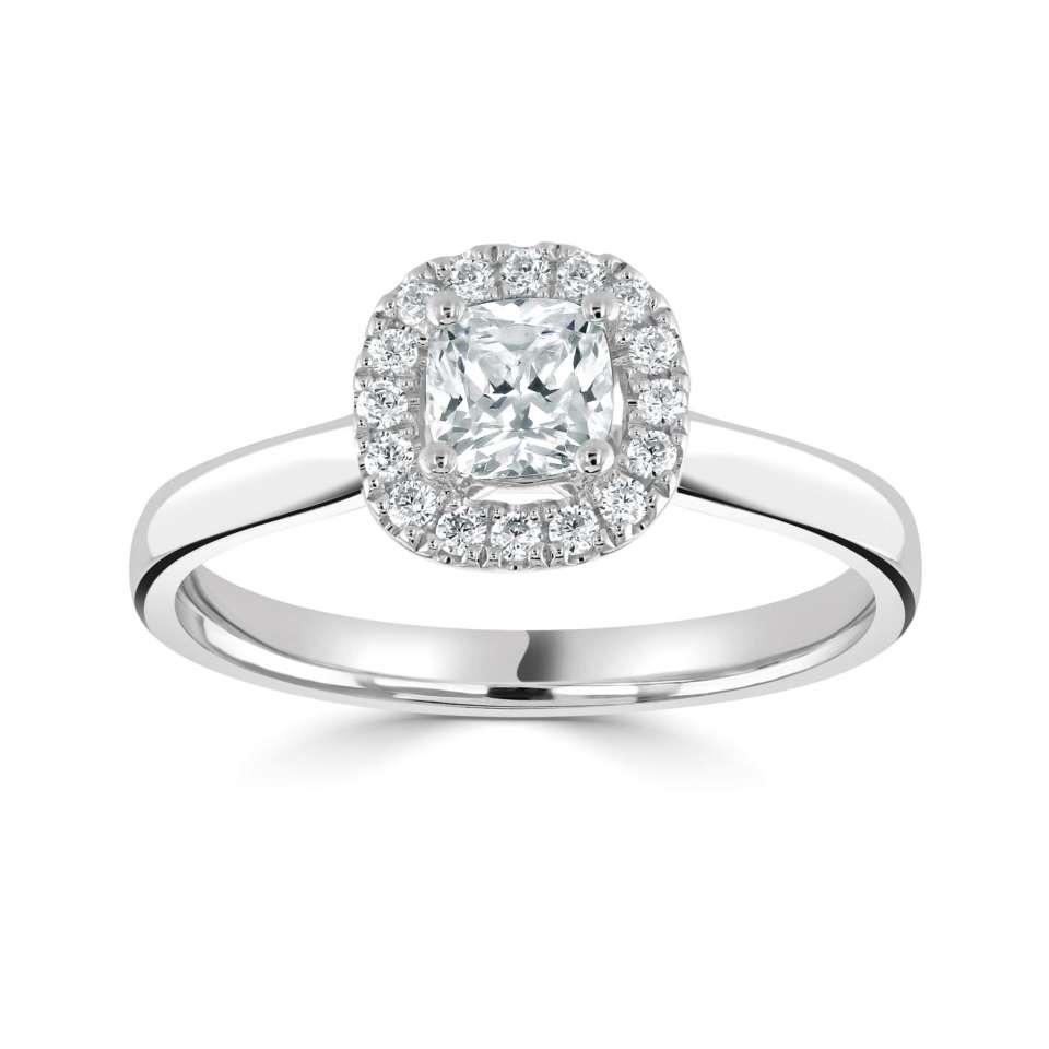 Classic Princess Halo with Plain Shoulders-Silk Road Diamonds