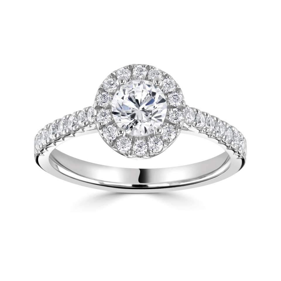 Classic Round Halo with Fishtail H/SI Diamond Set Shoulders-Silk Road Diamonds