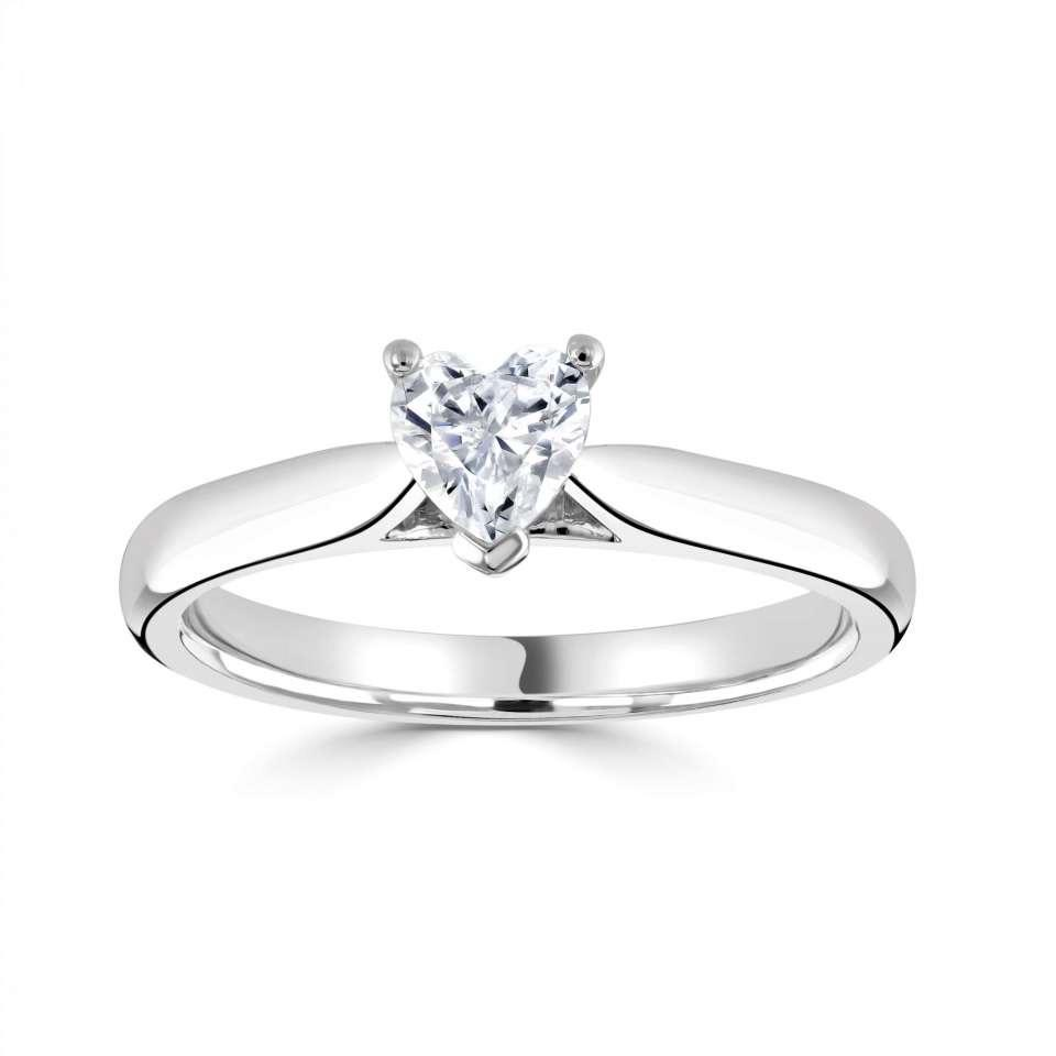 Classic Solitaire with Plain Shoulders for Heart Shaped Diamond-Silk Road Diamonds
