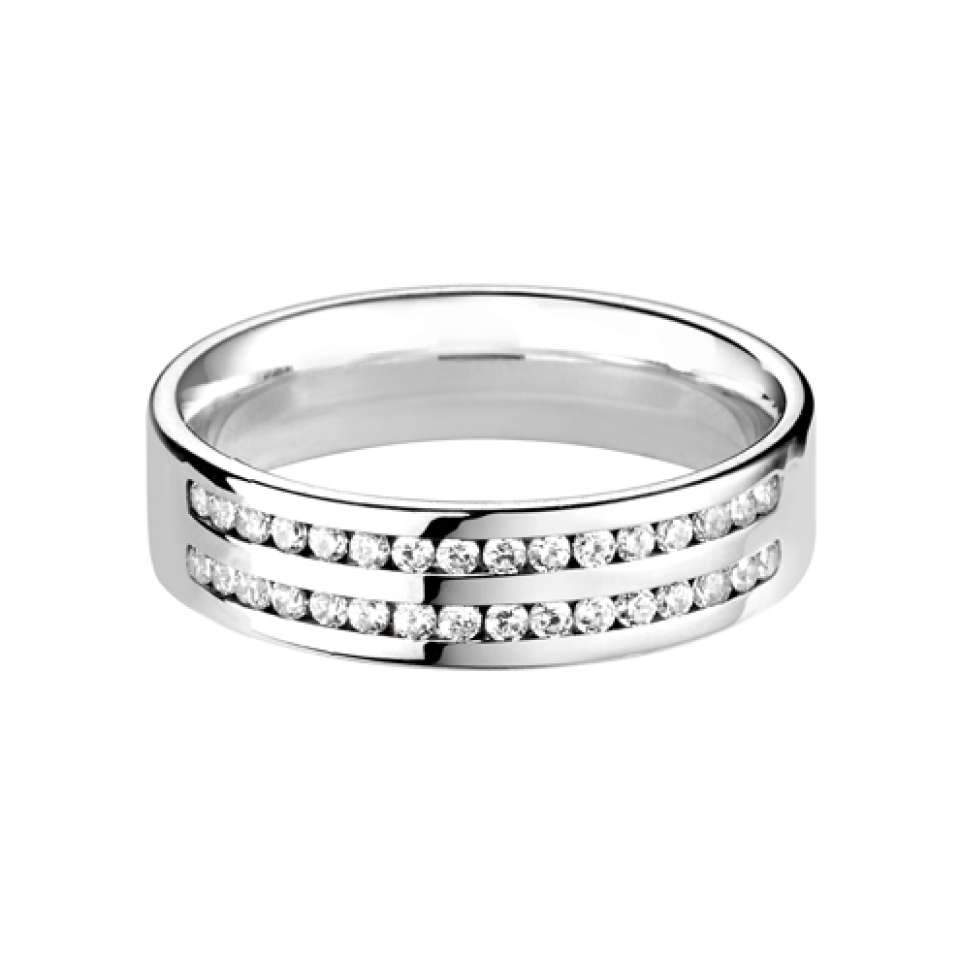 Flat Court Double Row Wedding Ring with Channel Set H/SI Diamonds-Silk Road Diamonds