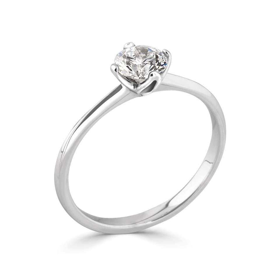 Floral Four Claw Platinum Solitaire Engagement Ring for Round Brilliant Diamond
