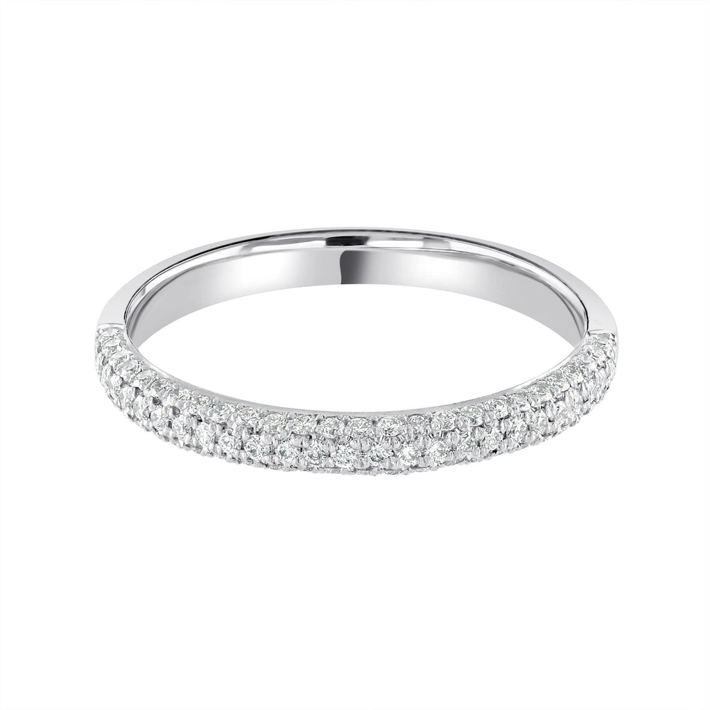 Half Eternity Wedding Ring Platinum G/VS Diamonds Triple Pavé Set