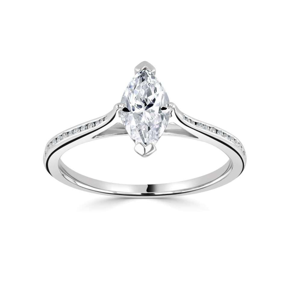 marquise solitaire with channel set H/SI Diamond shoulders.-Silk Road Diamonds