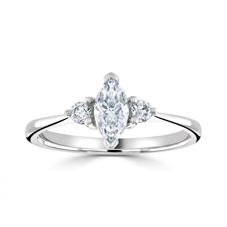 marquise solitaire with round diamond set shoulders.-Silk Road Diamonds