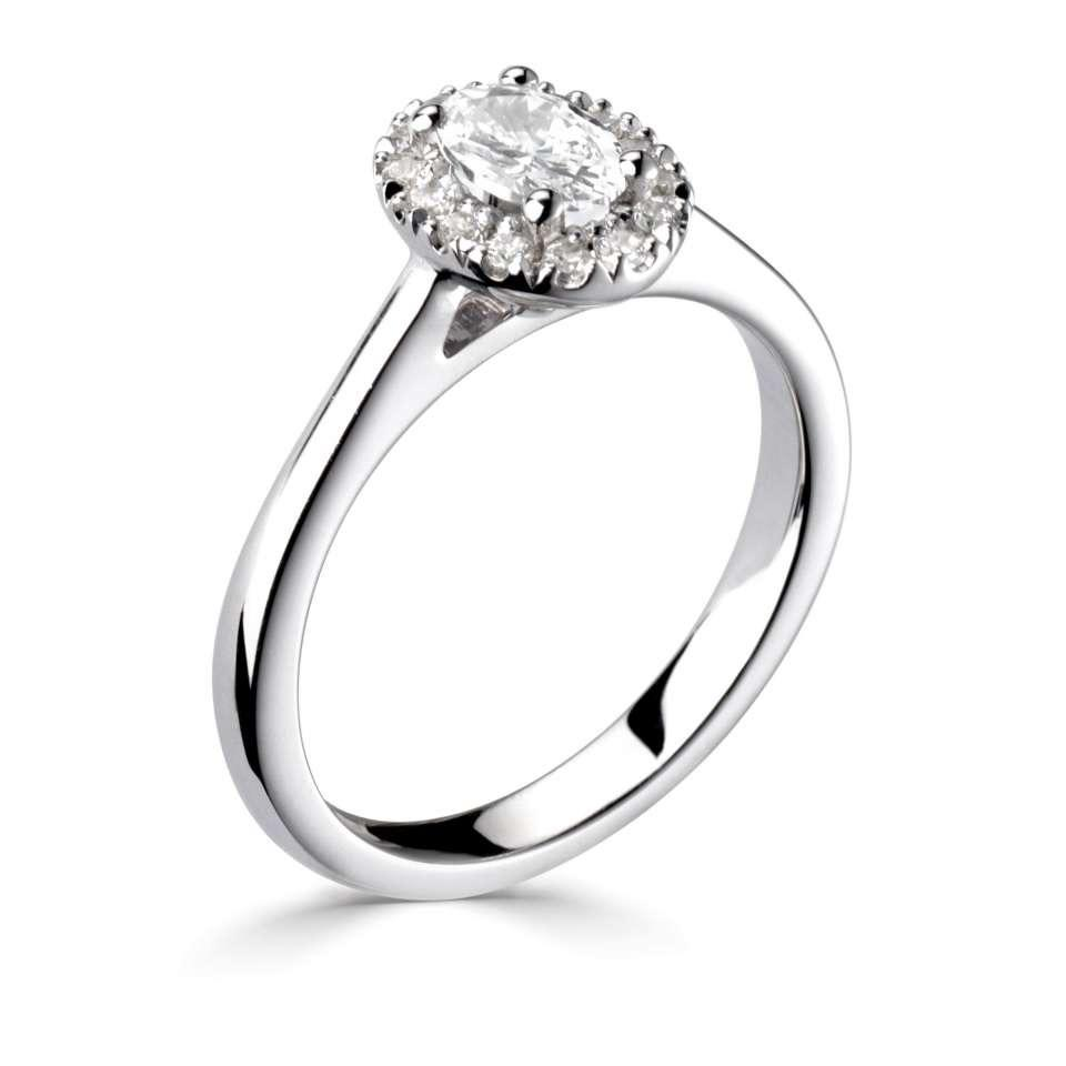 Oval Halo Diamond Engagement Ring with Plain Shoulders-Silk Road Diamonds