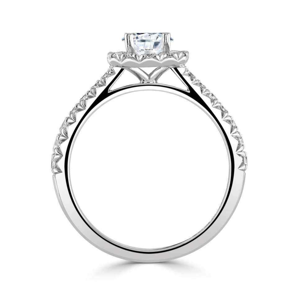 Platinum Round Halo Ring with H/SI Diamond Set Shoulders-Silk Road Diamonds