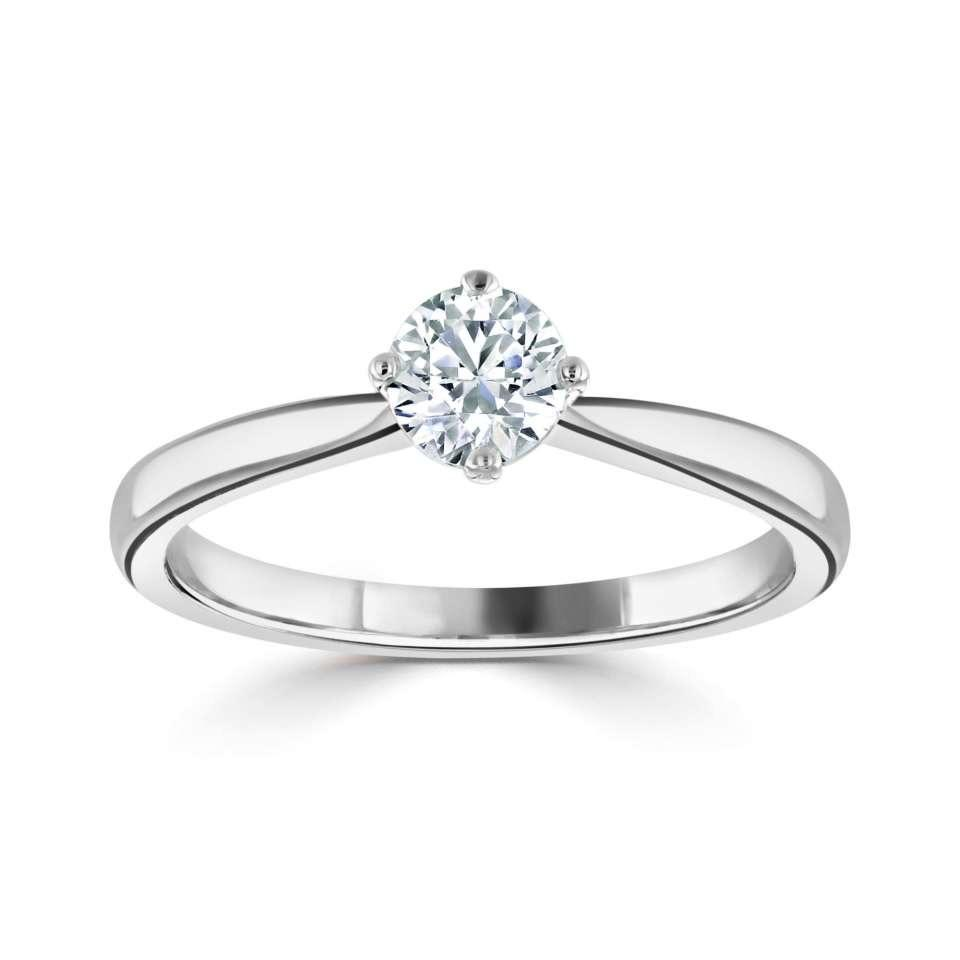 Platinum Solitaire Diamond Engagement Ring Four Claw Plain Shoulder
