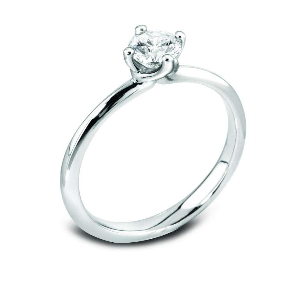 Platinum Solitaire Engagement Ring Four Claw for Round Brilliant Diamond