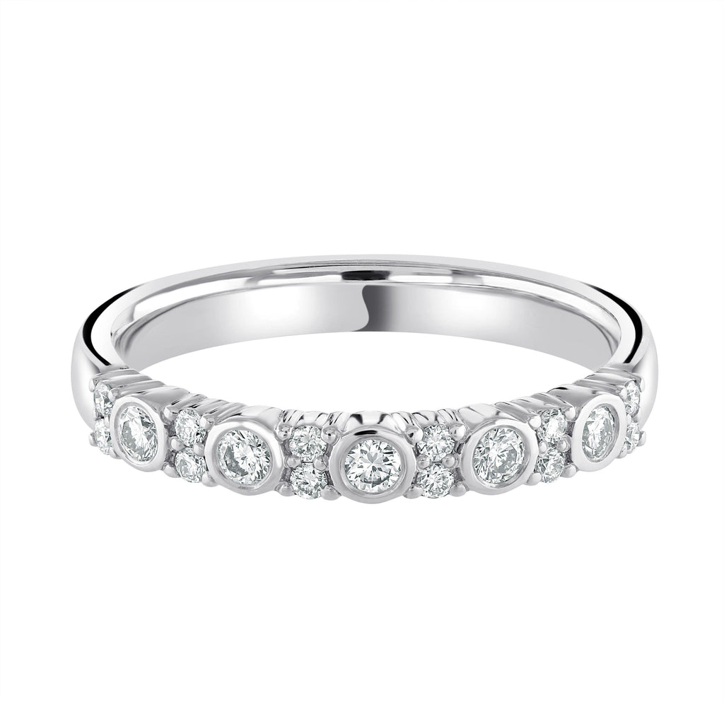 Platinum Vintage Claw Set Half Eternity Diamond Wedding Ring G/SI