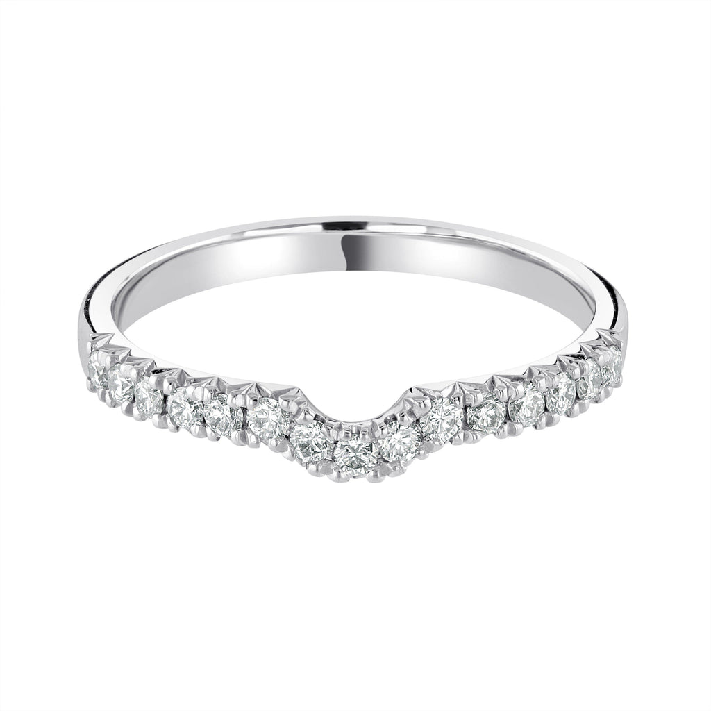 Scalloped Platinum Half Eternity Wedding Ring with G/SI Diamonds