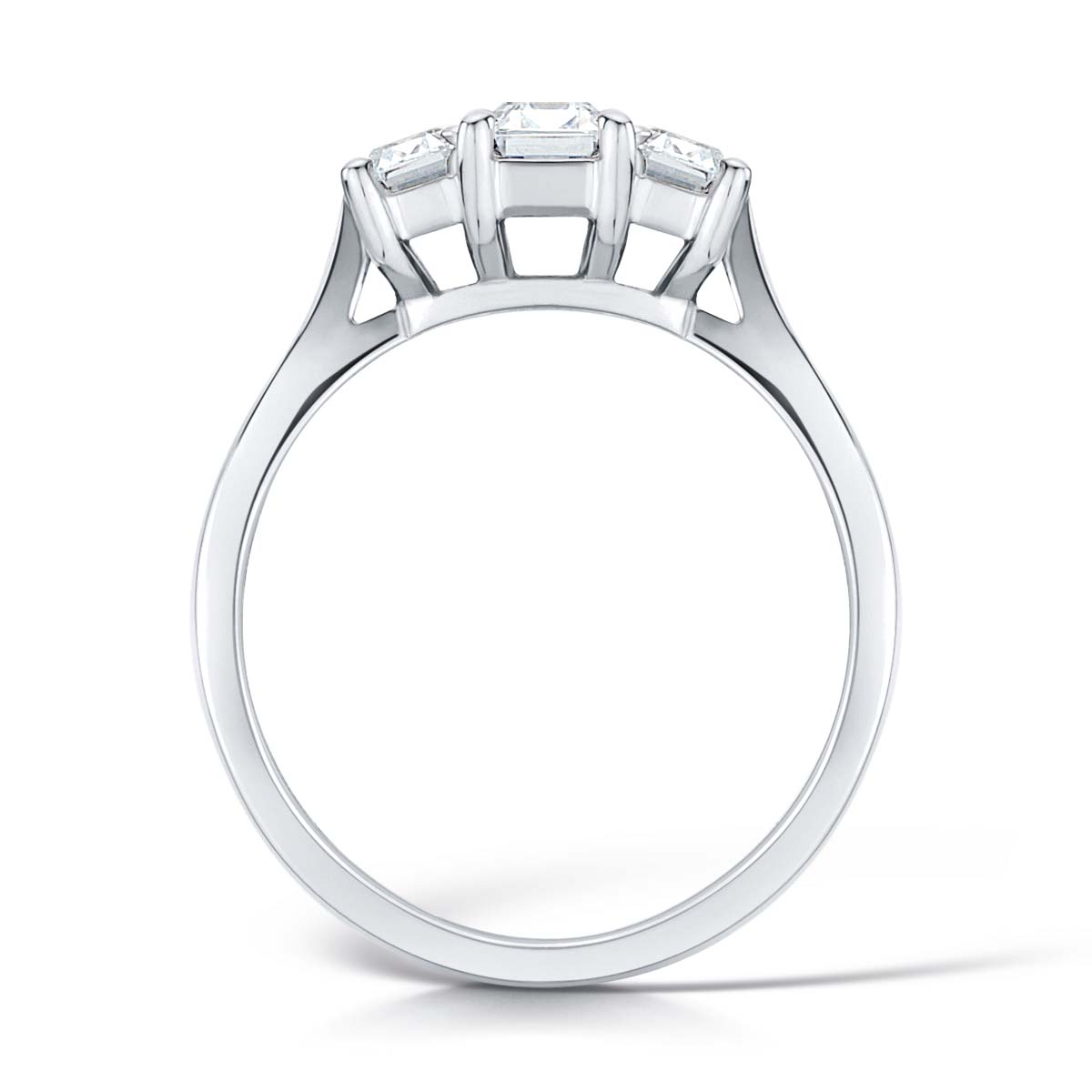 Trilogy Platinum Diamond Engagement Ring - Three Stone Mount for Emerald Cut Diamonds-Silk Road Diamonds