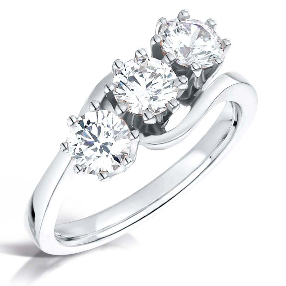 Trilogy Platinum Diamond Engagement Ring - Three Stone Mount for Round Brilliant Diamonds-Silk Road Diamonds