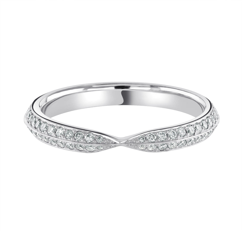 Twisted Half Eternity Platinum Wedding Ring Grain Set H/SI Diamonds
