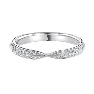 Open image in slideshow, Twisted Half Eternity Platinum Wedding Ring Grain Set H/SI Diamonds