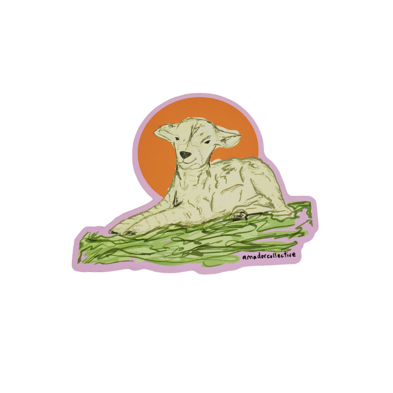 Baby Lamb laying in grass sticker.  Make this your pet. 3'' x 4'' Vinyl Sticker Weather Proof and Heat Resistant. Reap & Sow