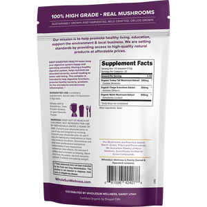Deep Digestive Turkey Tail, Chaga, Reishi Mushroom Blend keeps you digestive system happy and operating smoothly