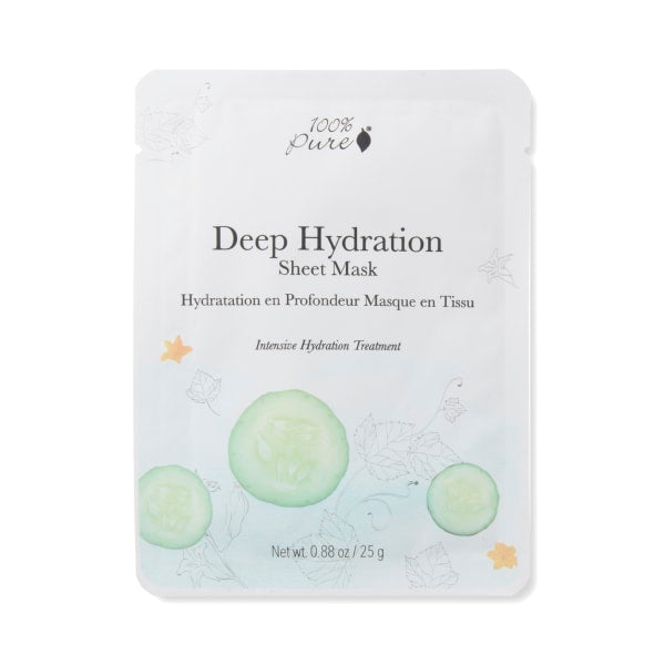 Deep Hydration Facial Sheet Mask for Intensive Hydration Treatment.  Single Mask or Pack of 5. Natural and Vegetarian
