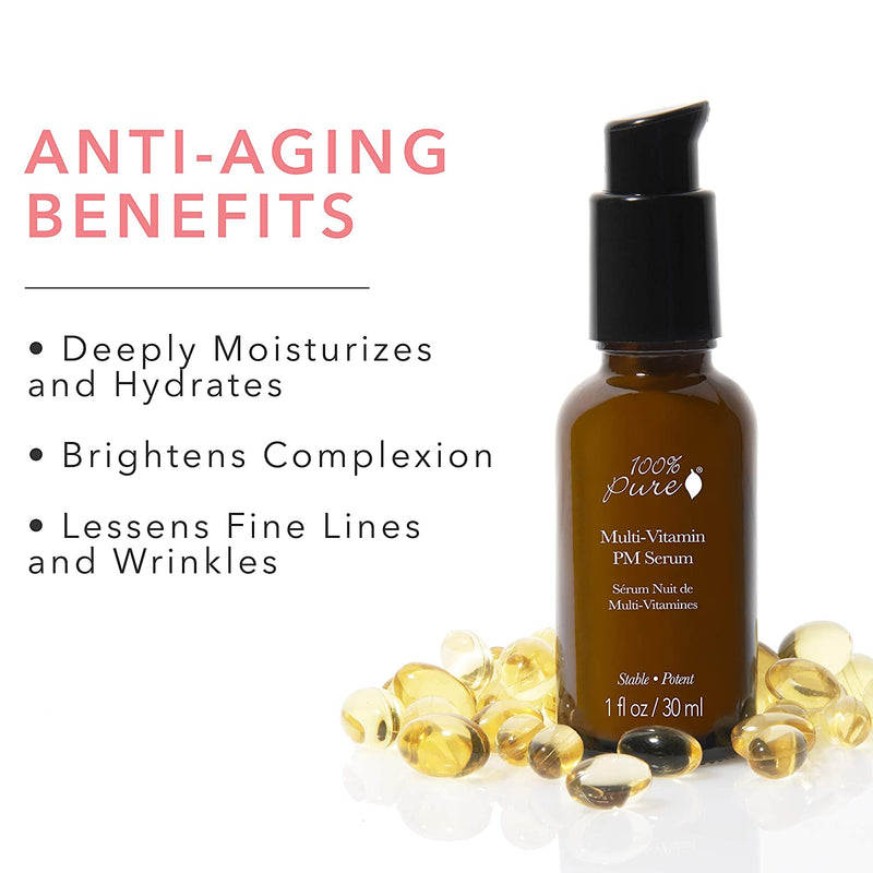 Anti-aging benefits of Multi-Vitamin PM Serum Deeply Restorative. Brightens Complexion, Lessens Fine Lines and Wrinkles. Shop Reap & Sow Oceanside, CA