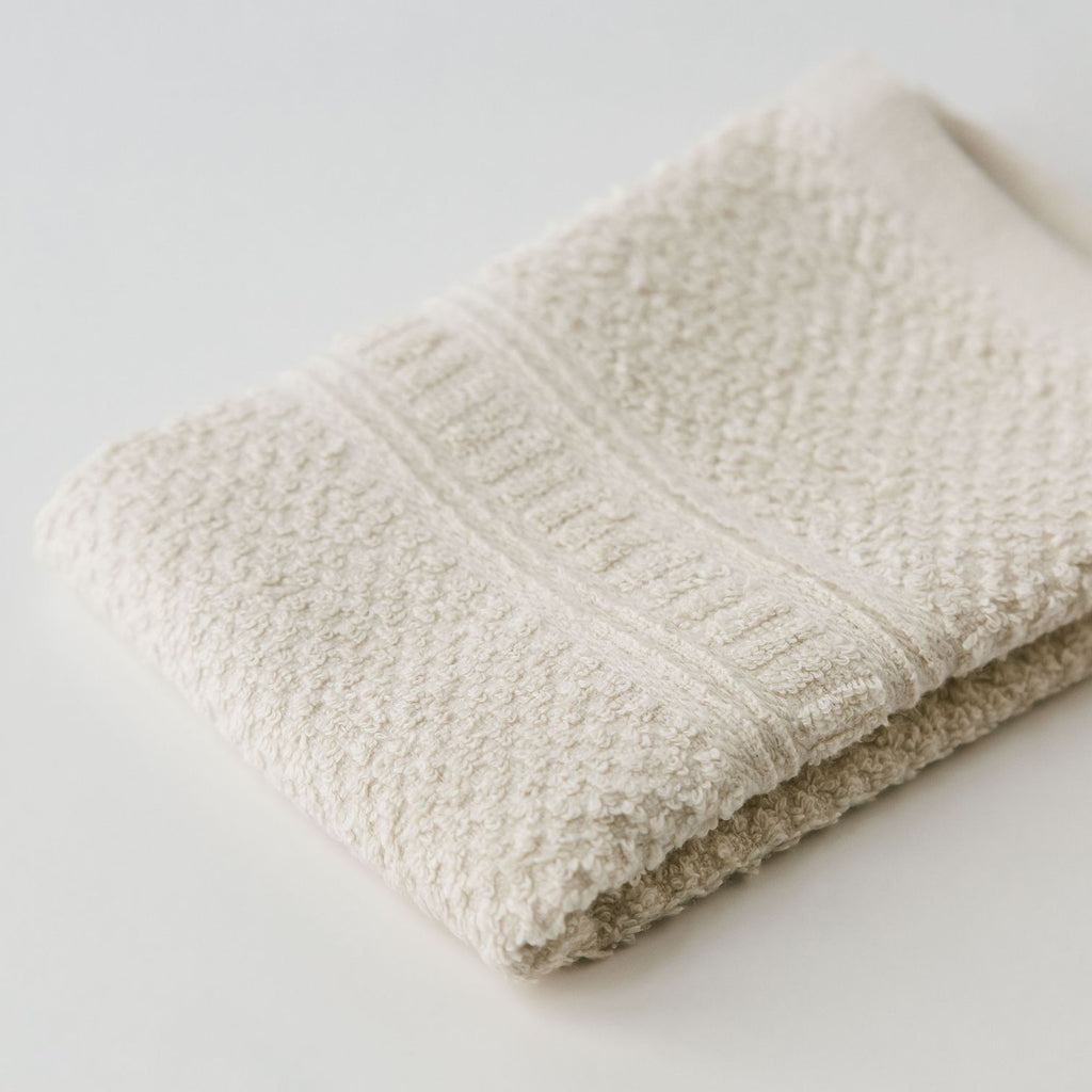 "Close up Anact hemp-based wash cloth towel. 55% hemp 45% organic cotton. 12"" x 12"" Quick drying, Ultra absorbent"