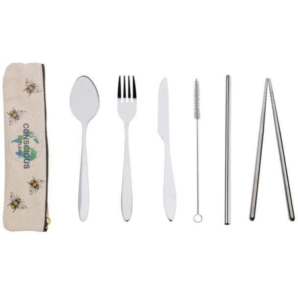 Stainless Steel Cutlery Kit with Hemp Travel Pouch