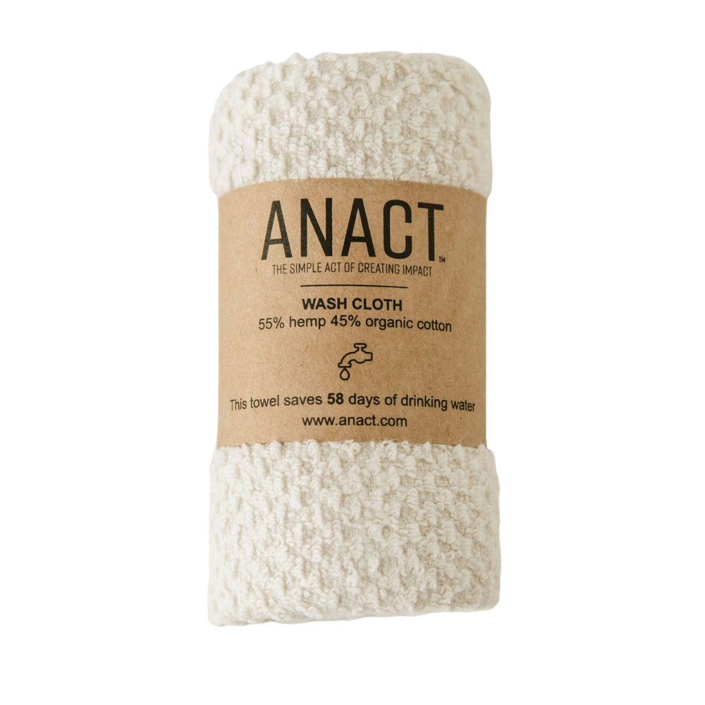 "Anact hemp-based Wash Cloth towel. 55% hemp 45% organic cotton. 12"" x 12"" Quick drying, Ultra absorbent, Sustainable"