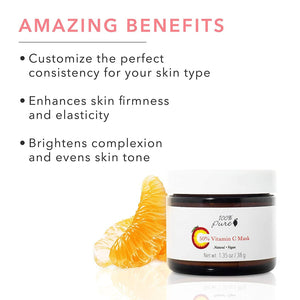 50% Vitamin C Mask Benefits:Customizable consistency, enhances firmness elasticity, Brightens complexion, evens skin tone.