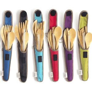 Bamboo Cutlery Kit with Recycled PET Pouch (Full Size)