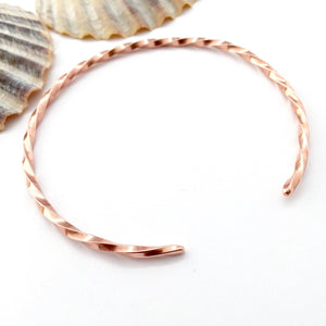 Twisted Copper Open Bangle
