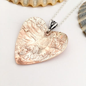 Copper Heart Pendant with Sterling Silver