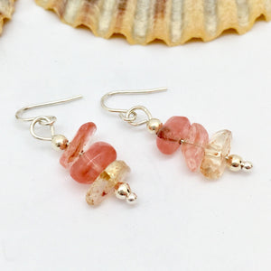 Cherry Quartz Gemstone Earrings