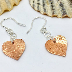 Textured Copper Heart Earrings