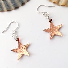 Load image into Gallery viewer, Hammered Copper Star Earrings
