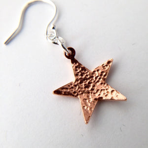 Hammered Copper Star Earrings